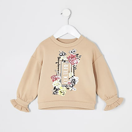 Mini girls beige flute sleeve sweatshirt