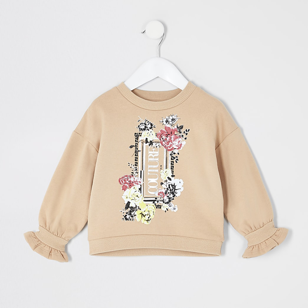 Mini girls beige flute sleeve sweatshirt