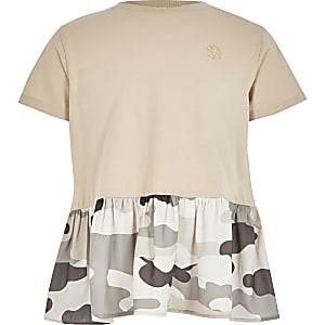 T-shirt péplumcamouflage marronpour fille