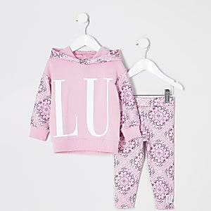 Mini - Roze hoodie outfit met 'Luxe'-tekst en print voor meisjes