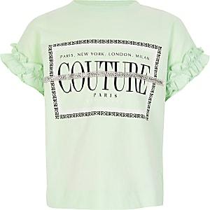"""Grünes T-Shirt mit """"Couture""""-Verzierung für Mädchen"""