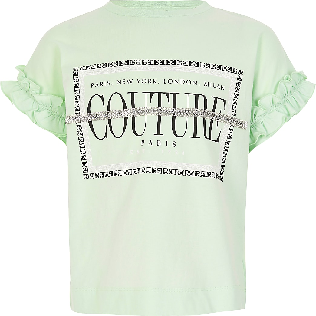 Girls green 'Couture' embellished T-shirt