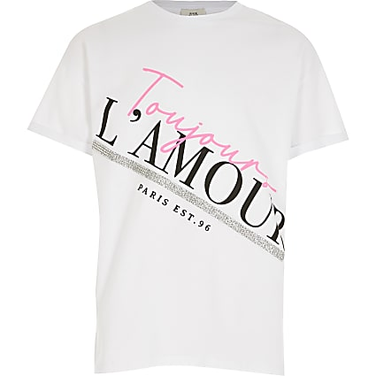 Girls white printed split side T-shirt