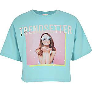 Turquoise T-shirt met 'Trendsetter'-tekst en print voor meisjes
