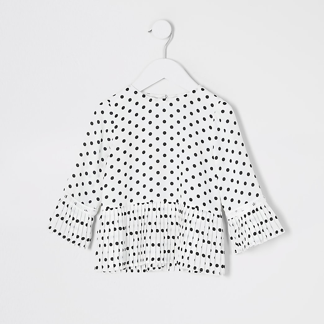 Mini girls cream polka dot pleated blouse