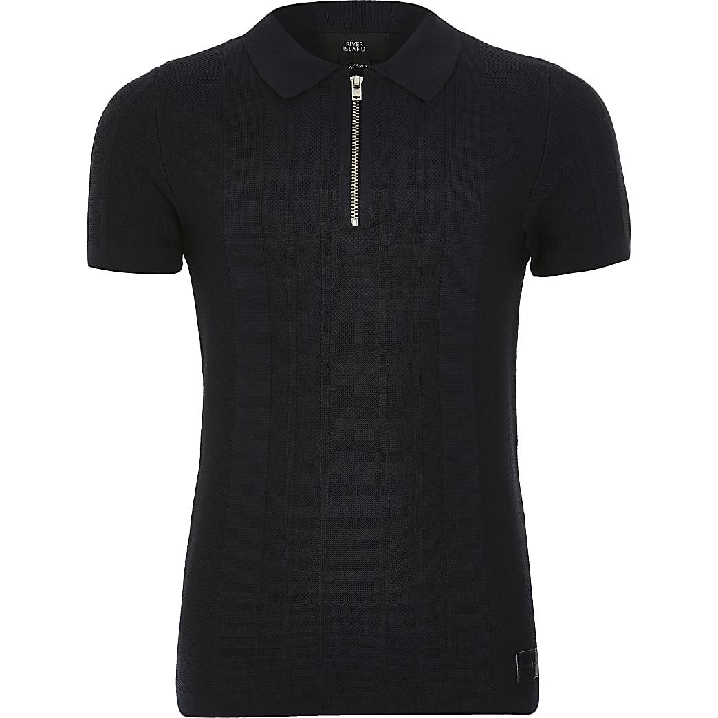 Marineblaues Poloshirt aus Strick mit kurzem Reißverschluss für Jungen