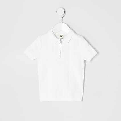 Mini boys white half zip knitted polo shirt