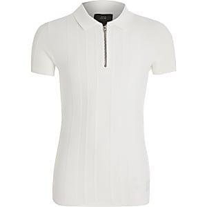 Gestricktes Poloshirt mit kurzem Reißverschluss für Jungen in Weiß