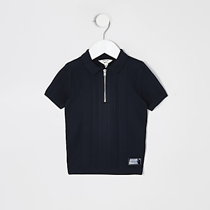 Mini boys navy half zip knitted polo shirt