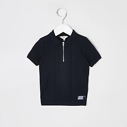 Mini boys navy half zip knitted polo shirt