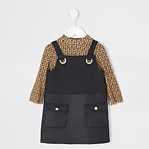 Mini - Zwarte overgooier outfit met RI-print voor meisjes
