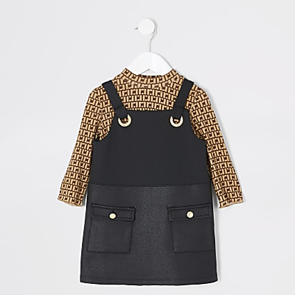 Mini girls RI black pinafore dress outfit