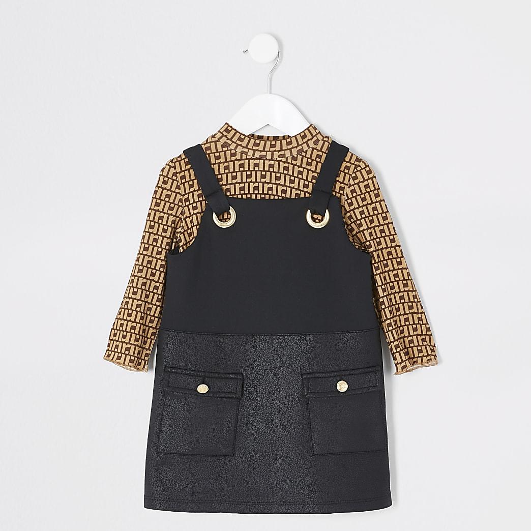 Mini girls RI black pinafore dress outfit