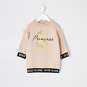 Mini – Gerüschtes Sweatshirt-Kleid in Rosa mit Print für Mädchen