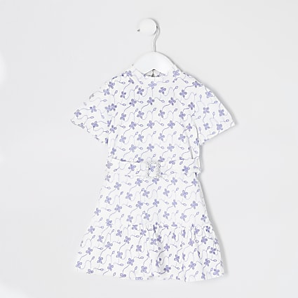 Mini girls white floral broderie skater dress
