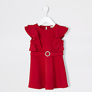 Mini girls red belted frill skater dress
