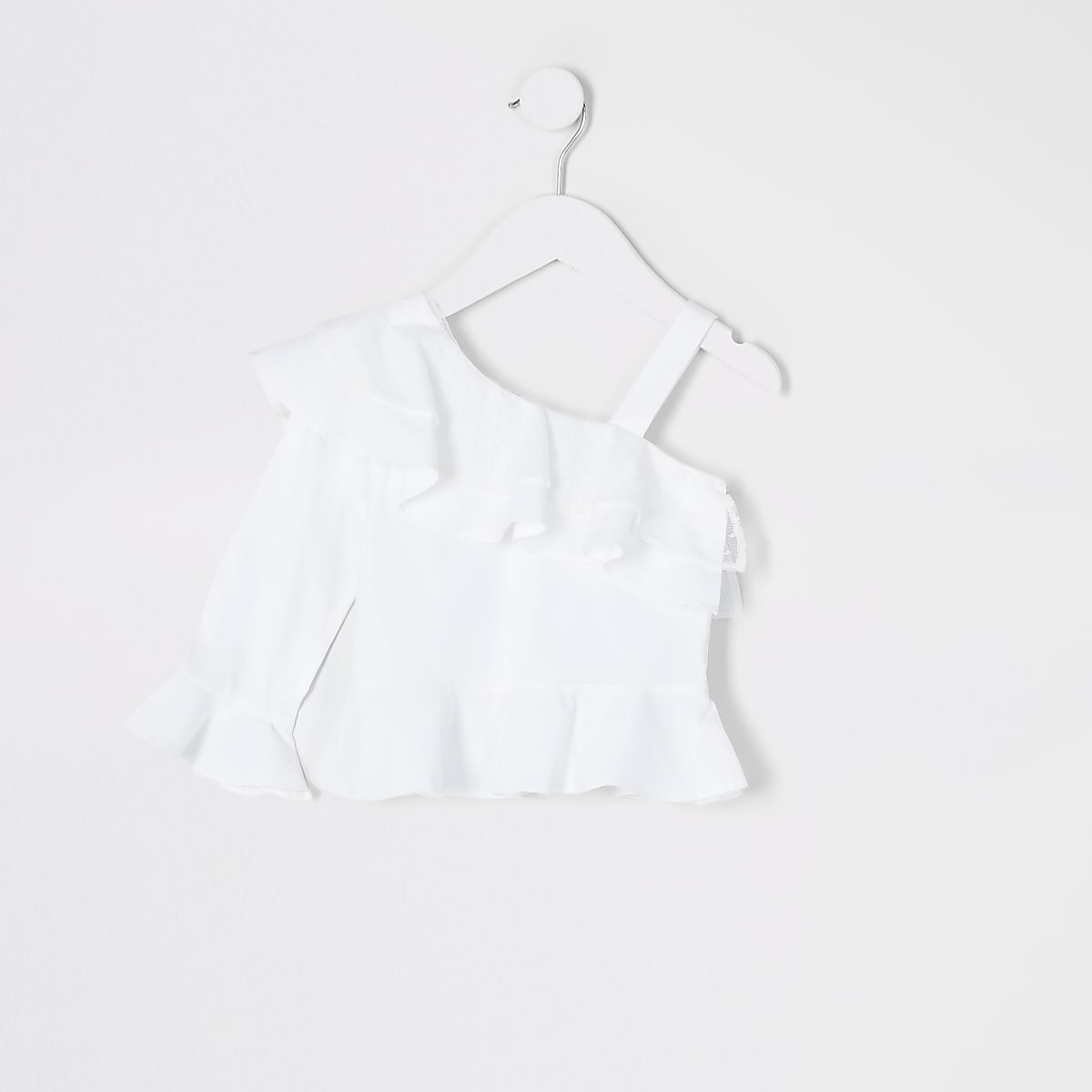 Mini girls white one shoulder poplin top