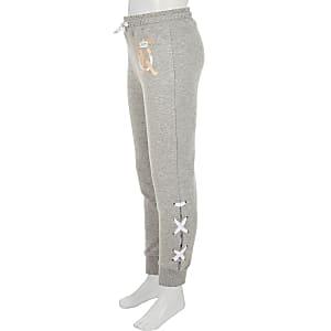 Pantalon de jogging gris avec lacets sur le côté pour fille