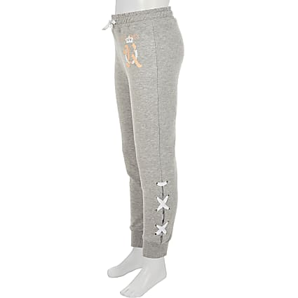 Girls grey lace-up side joggers