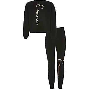 Zwarte outfit met 'L'amour' sweater voor meisjes