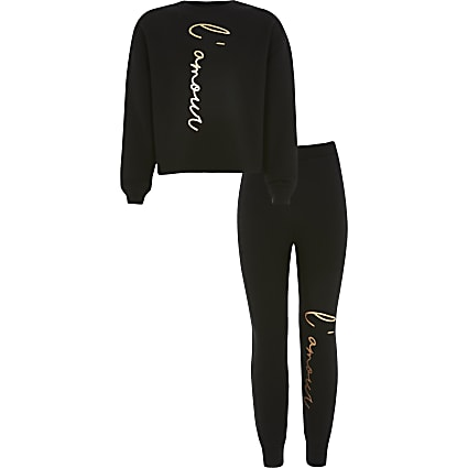 Girls black 'L'amour' sweatshirt outfit