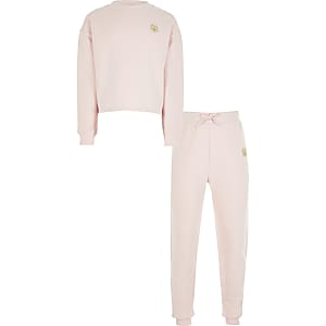 Tenue avec sweat RVR rose fille