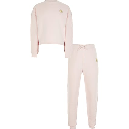 Girls pink RVR sweatshirt outfit