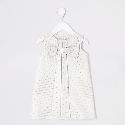 Mini girls cream bow embossed shift dress