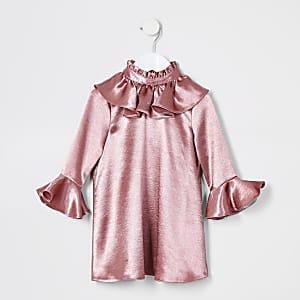 Mini – Pinkes, langärmeliges Rüschenkleid für Mädchen