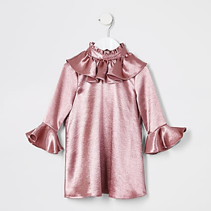 Mini girls pink frill long sleeve dress