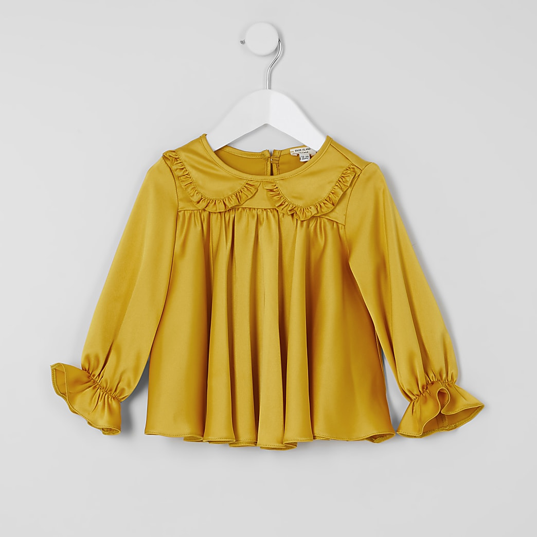 Mini girls yellow frill collar blouse