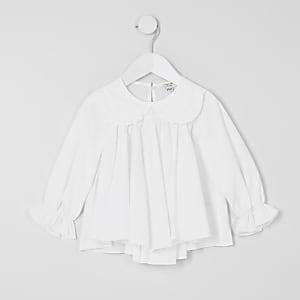 Mini - Witte blouse met ruches rond de kraag voor meisjes