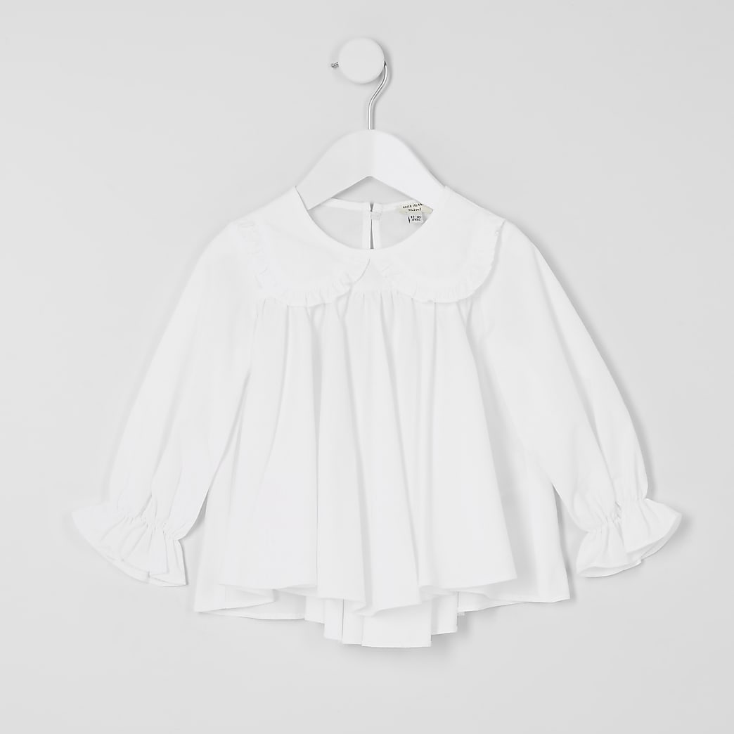 Mini girls white frill collar blouse