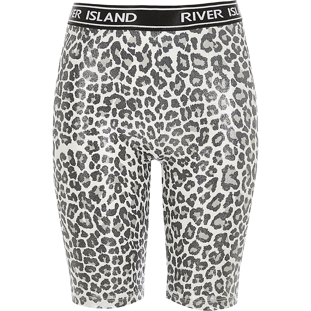 Girls silver leopard print RI cycling shorts