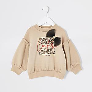 Mini – Beiges Sweatshirt mit Schleife und Aufdruck für Mädchen