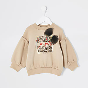Mini - Beige sweater met print en strik voor meisjes