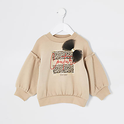 Mini girls beige print organza bow sweatshirt