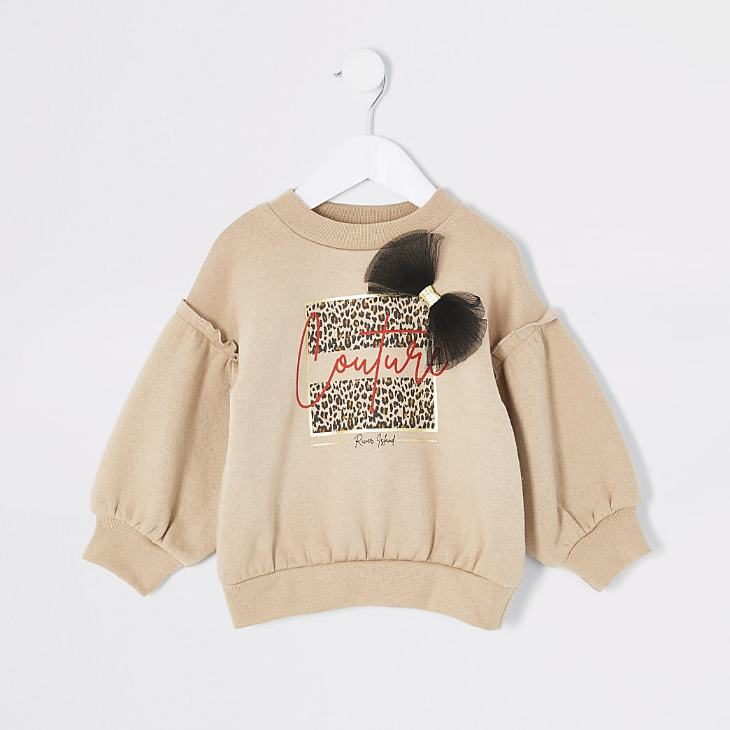 Mini girls beige print organza bow sweatshirt