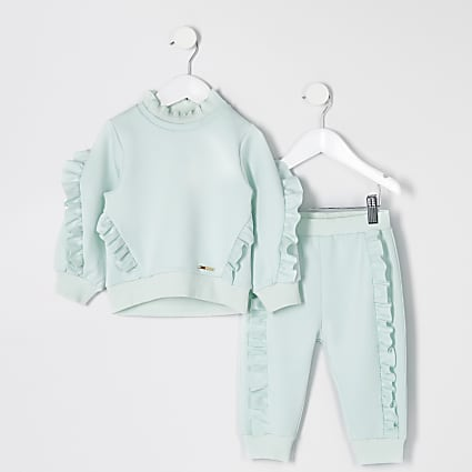 Mini girls green scuba sweatshirt outfit