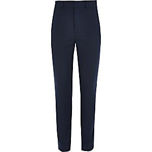 Boys navy straight leg smart trousers