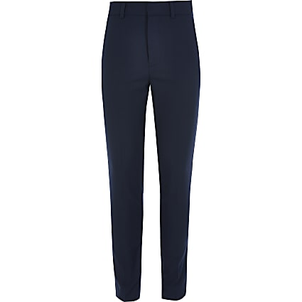 Boys navy straight leg smart trousers