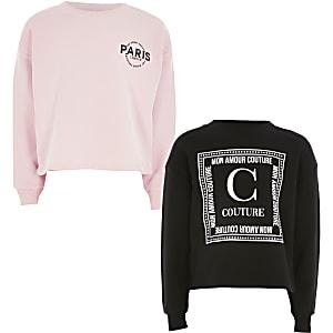 Sweatshirt in Rosa mit Print für Mädchen, 2er-Set