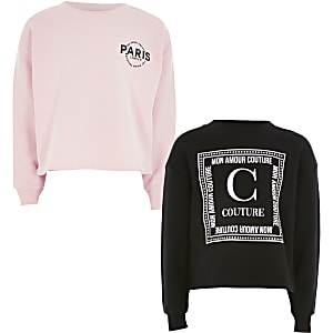 Roze sweater met print voor meisjes set van 2