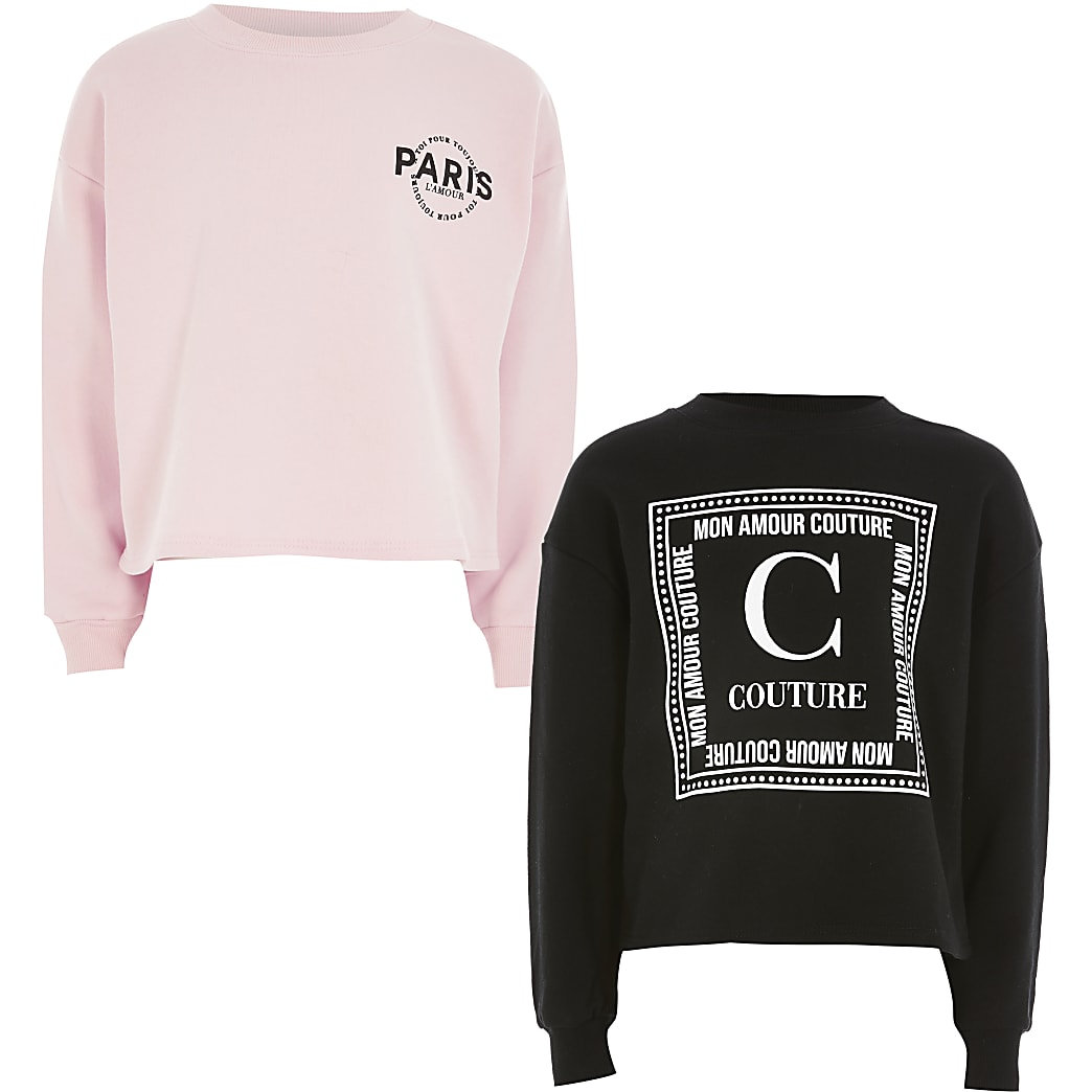 Girls pink printed sweatshirt 2 pack