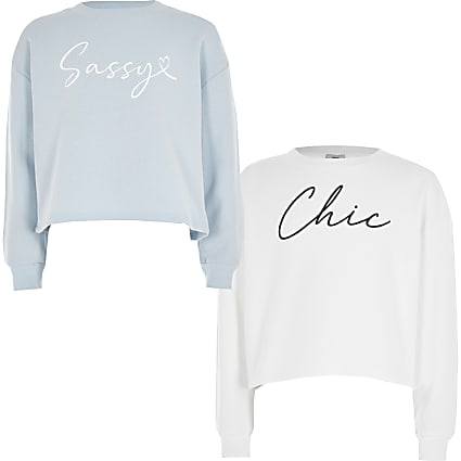 Girls white and blue print sweatshirt 2 pack