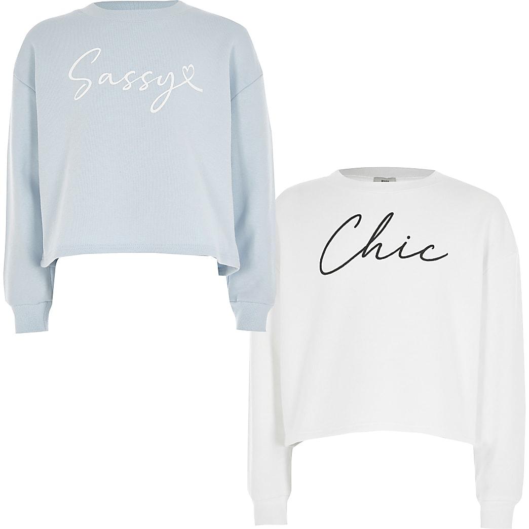 Sweatshirt für Mädchen in Weiß und Blau mit Print, 2er-Set