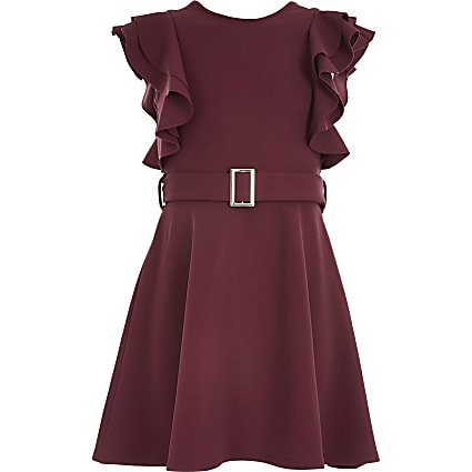 Girls dark red belted frill skater dress