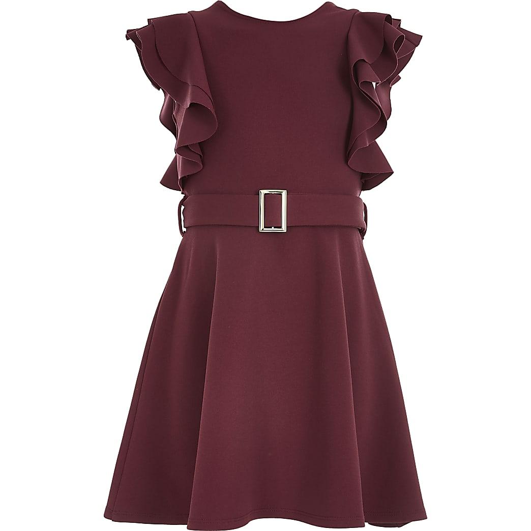 Girls dark red belted frill skater dress