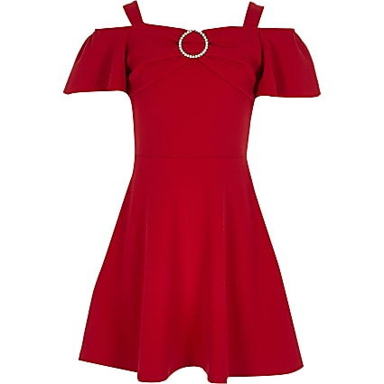 Girls red bardot diamante brooch skater dress