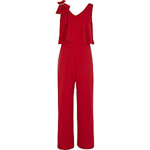 Roter Jumpsuit mit Broschenschleife an der Schulter für Mädchen